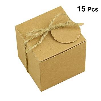 VORCOOL 50 unids Cajas de Dulces de Papel Kraft Favores de la Boda Bolsas de Regalo del Caramelo Cajas: Amazon.es: Hogar
