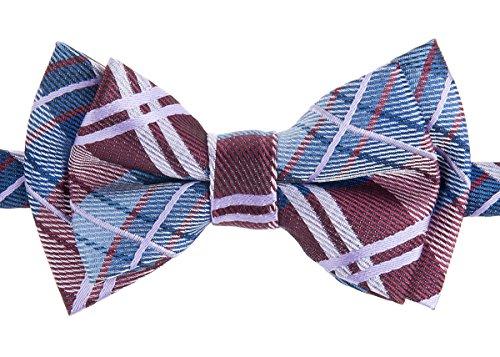 Retreez Elegant Tartan Plaid Check Woven Microfiber Pre-tied Boy's Bow Tie - Burgundy and Blue - 6 - 18 months