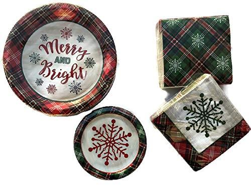 Holiday Chirstmas New Year theme Disposable Paper Plates and Napkins (50-6.75″ Paper Plates / 50-10.25″ Paper Plates / 100-13″x13″ Paper Napkins), Serves 50 Perfect for Holidays Events