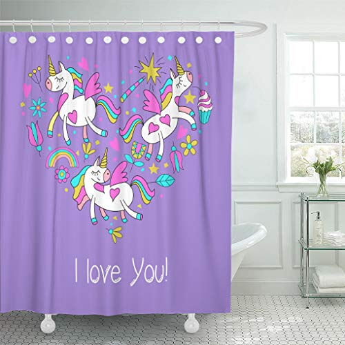 - Emvency Waterproof Shower Curtain with Hooks Happy Valentine Day Cute Magical Unicorns Flowers Cakes Magic Wand Stars Rainbow of Cliparts Has The Shape Heart 72