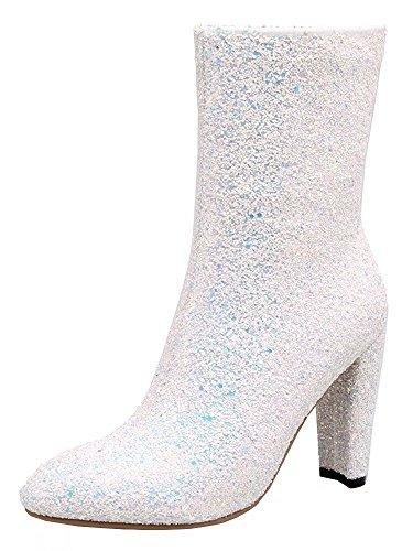 AIYOUMEI Damen Glitzer Stiefeletten mit 10cm Absatz und Reißverschluss Westlicher Stil Klassischer Pailletten Stiefel 5zajdZokih