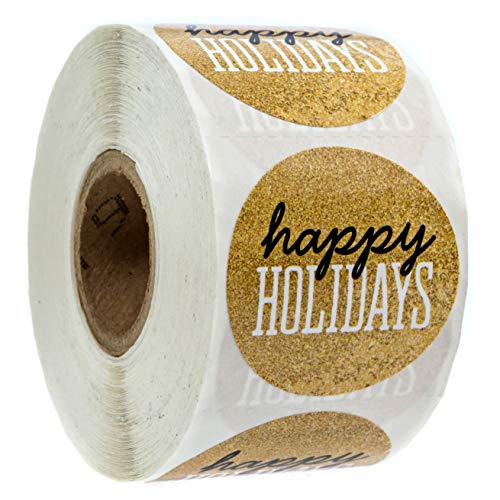Black & Gold Happy Holidays Christmas Stickers/500 Christmas Tags/Happy Holidays Faux Glitter ()