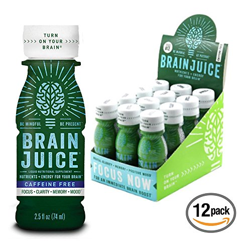 BrainJuice Brain Booster Vitamins Memory Focus Supplement Shots - Brain On, Enhance IQ, Clarity, Memory, Mood - Alpha GPC, Choline, Green Tea Extract Energy Supports Concentration Factor - 12 Pack Box