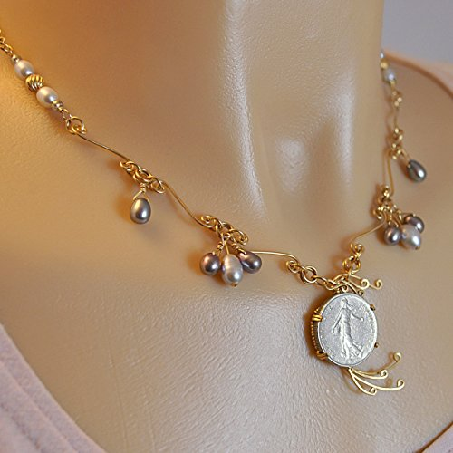 Goddess 14k Necklace (Vintage French Coin Goddess Necklace with Cultured Freshwater Pearls in 14K Gold Filled)