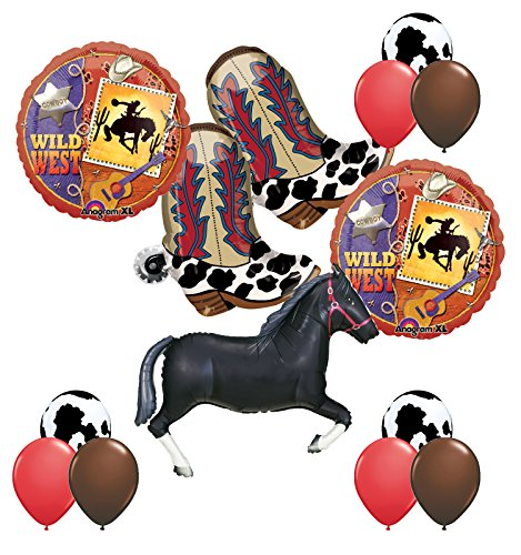 Mayflower Products Wild West Western Party Supplies Cowboy Boots and Black Horse Balloons Bouquet Decorations for $<!--$22.95-->