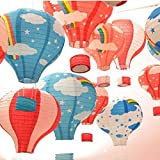 Laugh Cat 10pcs Colorful Cartoon Paper Hot Air Balloon Ceiling Hanging Ornaments Decorative for Baby Shower Kindergarten Party
