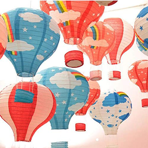 (Laugh Cat 10pcs Colorful Cartoon Paper Hot Air Balloon Ceiling Hanging Ornaments Decorative for Baby Shower Kindergarten Party)