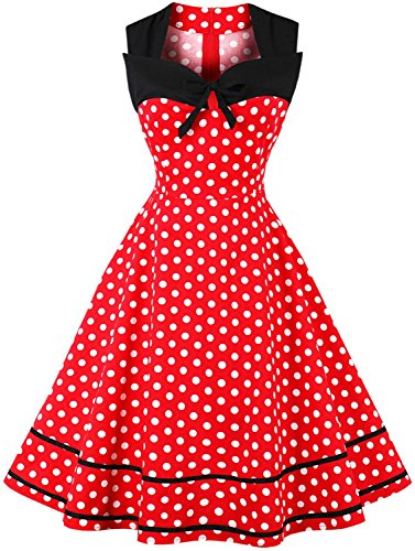 Jiuzhoudeal Women's 1950s Vintage Sleeveless Retro Swing Party Classy Dress (Large, Red&Polka Dot) -