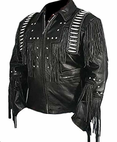 SRHides Men's Cowboy Real Leather Jacket, Bones & Fringed Sheep Black Medium