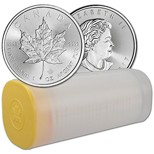 CA 2017 Canada Silver Maple Leaf (1 oz) 1 Roll - TWENTY-FIVE (25) Coins in Mint Tube Brilliant (Canada Mint Coin)