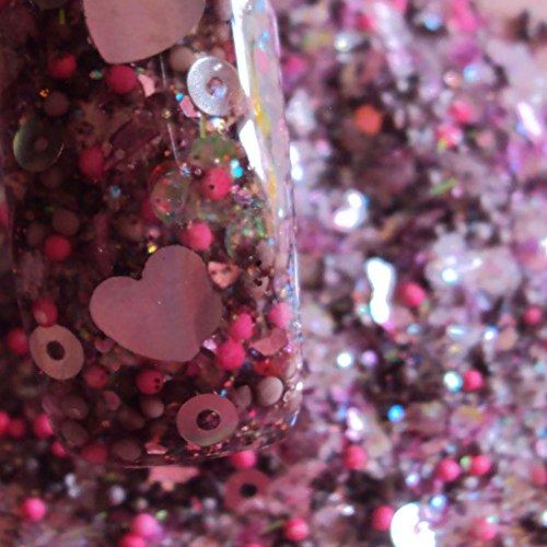 Custom & Fancy Approx 0.5 Teaspoon of Small Nail Art Glitter Confetti Made of Premium Mylar w/ Sparkling Princess Valentine Heart & Dot Shapes Chunky Shimmer Dust Mix Design [Pink, (Princess Teaspoon)