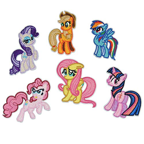 (My Little Pony Horse Embroidered Iron/sew on Patch Cloth Applique Set of 6 )