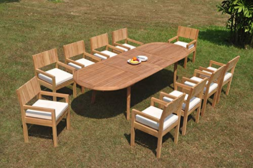 """TeakStation 10 Seater Grade-A Teak Wood 11 Pc Dining Set: 118"""" Double Extension Oval Table and 10 Veranda Arm Chairs #TSDSVR11"""