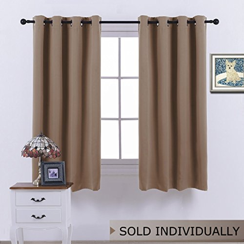 NICETOWN Blackout Curtains 63 Inch Length - (Cappuccino Color) Thermal Insulated Room Darkening Drape for Villa/Apartment/Rental Room, 52 inch Wide by 63 Inch Long, 1 ()