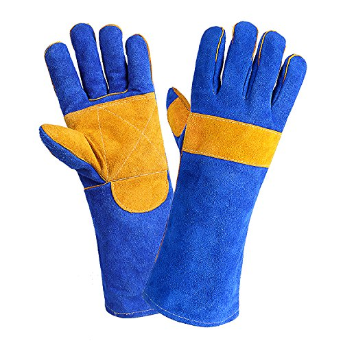 Double Cuff Gloves (DEKO Welding Gloves Double Layered Heat Resistant Lined Leather with Velvet, Blue - 16 Inch for Mig, Tig Welders, BBQ, Gardening, Camping, Stove, Fireplace)
