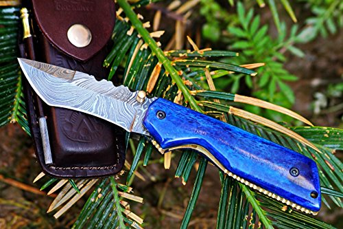 ++ DKC-124 BLUE MIAMI Damascus Tanto Bowie Hunting Handmade Knife Fixed Blade 6.9oz oz 4.5Closed 3.25 Blade 7 Open