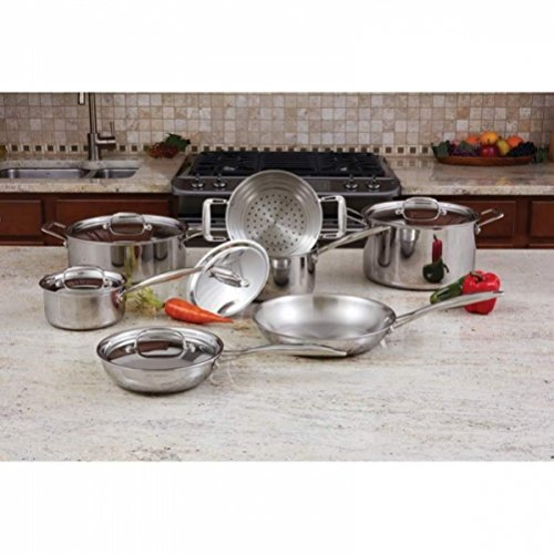 Maxam Tri-Clad 3-Ply T304 12pc Stainless Steel Cookware Set (Oversized Steamer Steel Stainless Skillet)