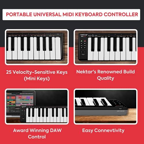 Nektar SE25 25-Key Velocity-Sensitive Portable USB Midi Keyboard Controller with Nektar DAW Integration and Free Professional Recording Software