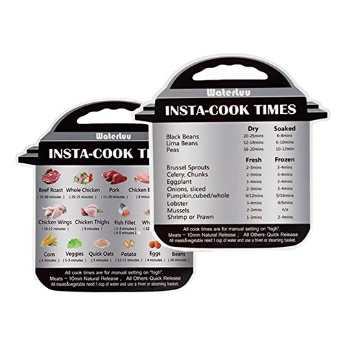 WaterLuu Instapot Electric Pressure Cooker Cheat Sheet | Instant Pot Accessories Magnetic Cook Times Quick Reference Guide Magnet Set | IP Sticker &Decal with 28 Common Prep Functions - 2 Pack
