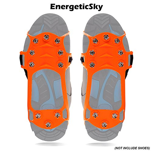 - EnergeticSky Ice Cleat Spikes Crampons and Tread for Snow,Ice,Attaches Over Shoes/Boots for Everyday Safety in Winter,Outdoor,Slippery Terrain. (Orange, XL)