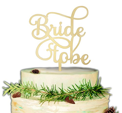 Bride to Be Cake Topper Bridal Shower Wedding Engagement Bachelorette Acrylic Party Supplies Script Gift Ceremony Decor Cake Toppers (Gold)