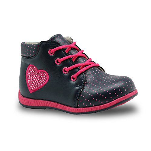 Apakowa Toddler Girls Ankle Boots with Love Heart Rhinestone Insole with Arch Support ( Color : Blue+Peach , Size : 7.5 M US Toddler ) by Apakowa (Image #7)