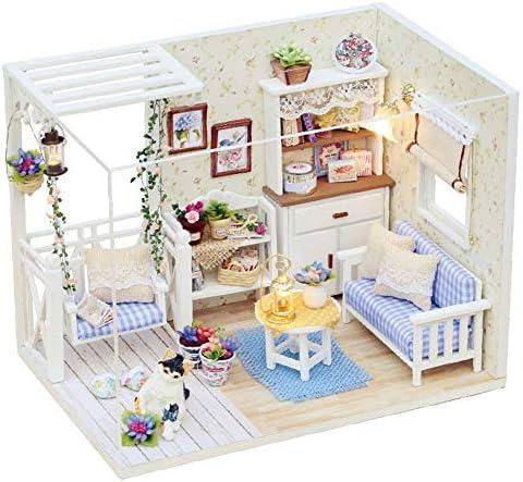 子供のおもちゃ ルームアイデアDIYミニチュアルームセット、木工芸構築キット、木製モデルハウス工芸 調整と実践スキルの開発 (色 : Multi-colored, Size : 17x15x15cm)