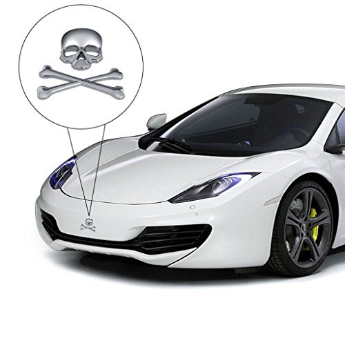 EFORCAR Skull Head Sticker, 3D 3M Skull Metal Skeleton Crossbones Design Car Sticker Label Skull Emblem Badge for Motorcycle Decor Sticker-1PCS (Silver) ()