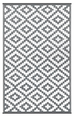 (Lightweight Outdoor Reversible Plastic Nirvana Rug (5 X 8, Grey/White))