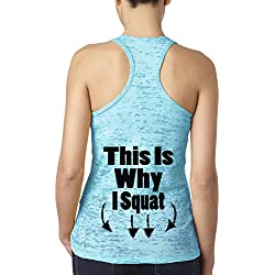 Awkward Styles Women's This is Why I Squat Burnout Racerback Tank Tops Back Logo Gym Fitness Workout Blue M