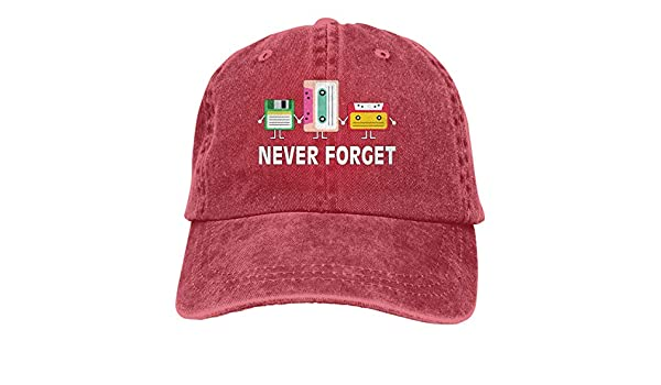 544bf312fa6c2 Amazon.com  Unisex Baseball Cap Hat Never Forget Floppy Disk Cassette Tape  Vintage Jean Snapback Cap for Women Red  Clothing