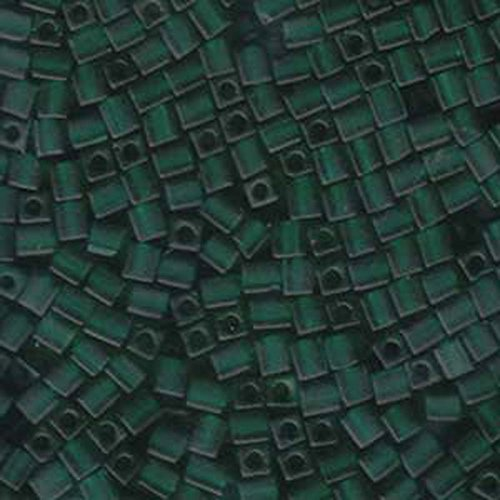 - 20Gr Tr Dark Green Frosted Miyuki 4mm Square Cube Glass Seed Beads