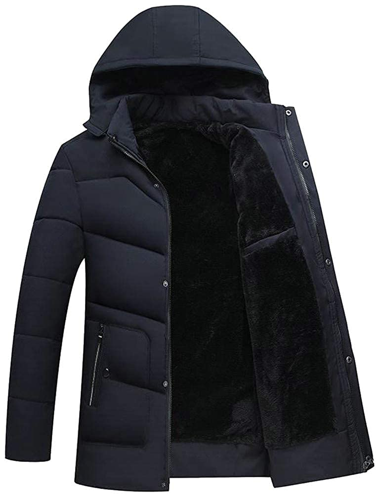 Pivaconis Mens Quilted Winter Fleece Hooded Down Zipper Jacket Parka Coat