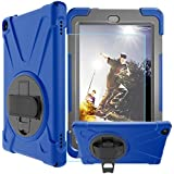 MAHYVE Shockproof Case for All-New Amazon Fire HD 8 Tablet (7th Gen 2017) - [Adjustable Strap] 360 Rotating Grip Stand Protective Carry Defender Armor / Tempered Glass Screen Protector (Blue)