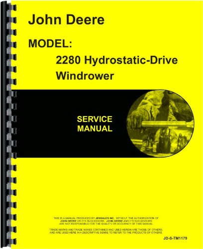 Price comparison product image John Deere 2280 Windrower Service Manual (Hydrostatic Drive)