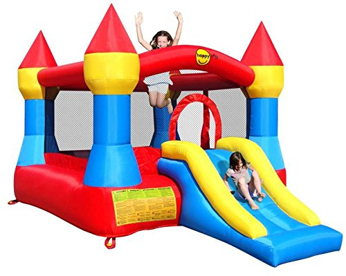 Bouncy Castle and Inflatable Slide - Large Turret - Red/Yellow/Blue - Happy Hop