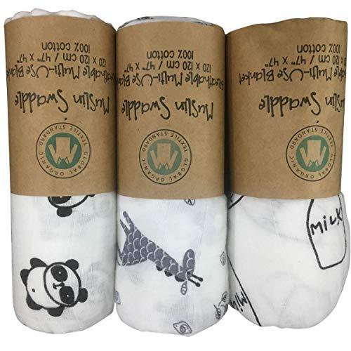 Waddleplus Baby Swaddle Blanket, 100% Cotton Muslin, Large 44 X 44 inch, 3 Pack, Baby Star (Panda+Milk+Giraffe) (Best Milk For Newborn Baby In India)
