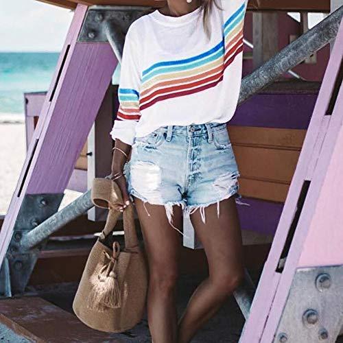 Femme Stripes Rainbow Longue Rond Blanc T Globalqi Couleur Manche Col shirt À Sweat TptxFqCwZ