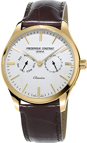 Frederique Constant Classics Quartz Stainless Steel Plated Yellow Gold Mens Watch - 40mm Analog White Face with Day Date and Sapphire Crystal - Brown Leather Band Swiss Dress Watch For Men (Brown Leather Geneve Watch)