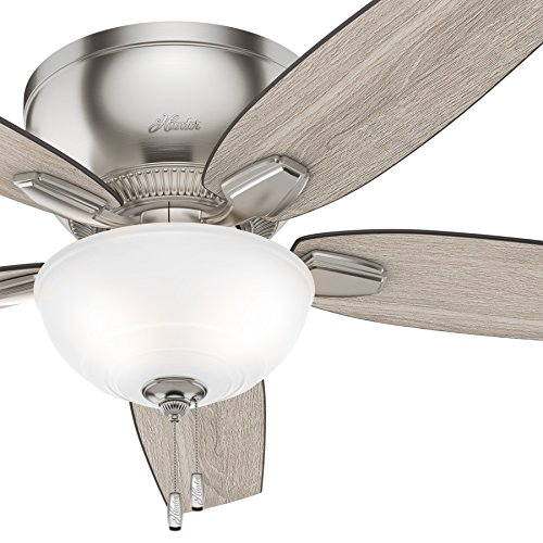 Hunter 52 inch Low Profile Ceiling Fan with LED Light Kit, Brushed Nickel (Renewed)