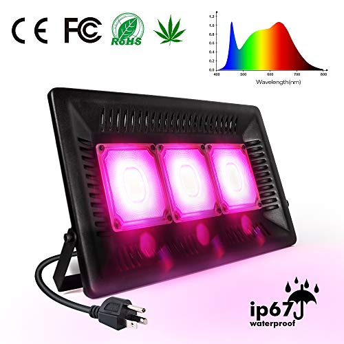 450W LED Grow Light Full Spectrum, Relassy Waterproof COB LED Grow Light with Natural Heat Dissipation and Without Noise Perfect for Outdoor/Indoor Plants All Growing