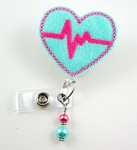 EKG Mint with Fuchsia - Nurse Badge Reel - Retractable ID Badge Holder - Nurse Badge - Badge Clip - Badge Reels - Pediatric - RN - Name Badge Holder