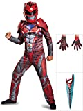 Power Ranger Costume Kit Red Classic Kids L With Gloves And Sword