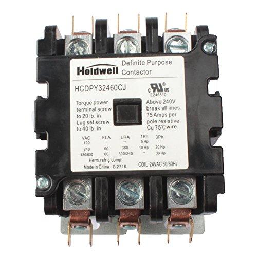 (Holdwell 42EF35AJ 3 Pole 60 Amp 24V Coil Definite Purpose Contactor)
