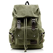 liangdongshop Casual Canvas Backpack Drawstring Mountaineering Shoulder Bags with Flap(Army Green)