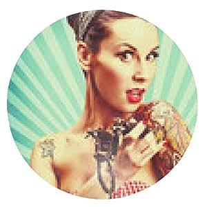 alfombrilla de ratón chica pin-up con los tatuajes - ronda - 20cm