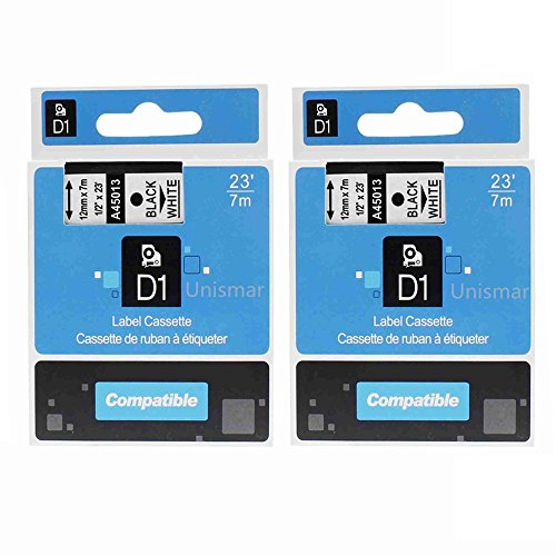 unismar-2-pack-label-tape-compatible-for-dymo-d1-45013-s0720530-black-on-white-12mm-1-2-width-7m-23-
