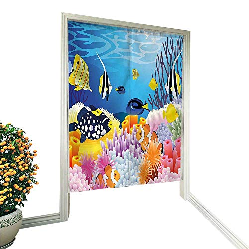 (QianHe Japanese Style Noren Door CurtainWater Life with Different Kind of Fishes Coral Reefs and Sponges Kids Nursery Tapestry Cotton Linen Curtain Blind 33.5