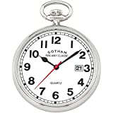 Gotham Men's Silver-Tone Analog Quartz Date Railroad Pocket Watch # GWC14101S