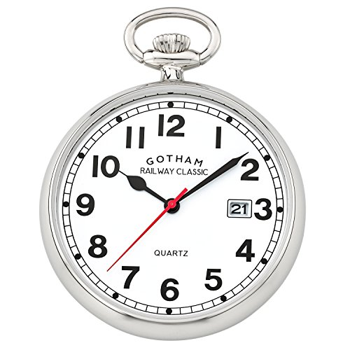 Gotham Men's Silver-Tone Analog Quartz Date Railroad Pocket Watch # GWC14101S (Tone Silver Analog)